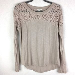 Nordstrom Lace Cream Nude Long Sleeve Tee